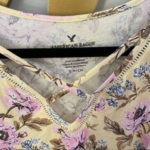 American Eagle Outfitters Tops - AMERICAN EAGLE Yellow Floral Cross Front Tank